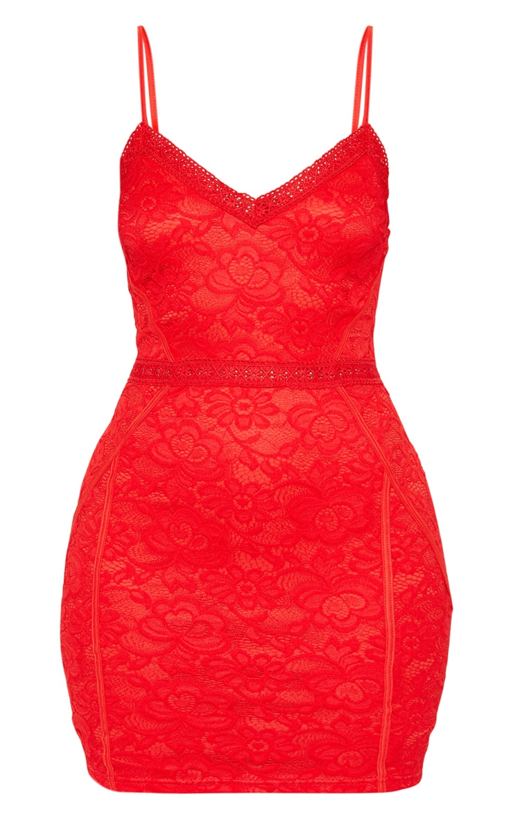 Red Lace Embroidered Trim Bodycon Dress 3