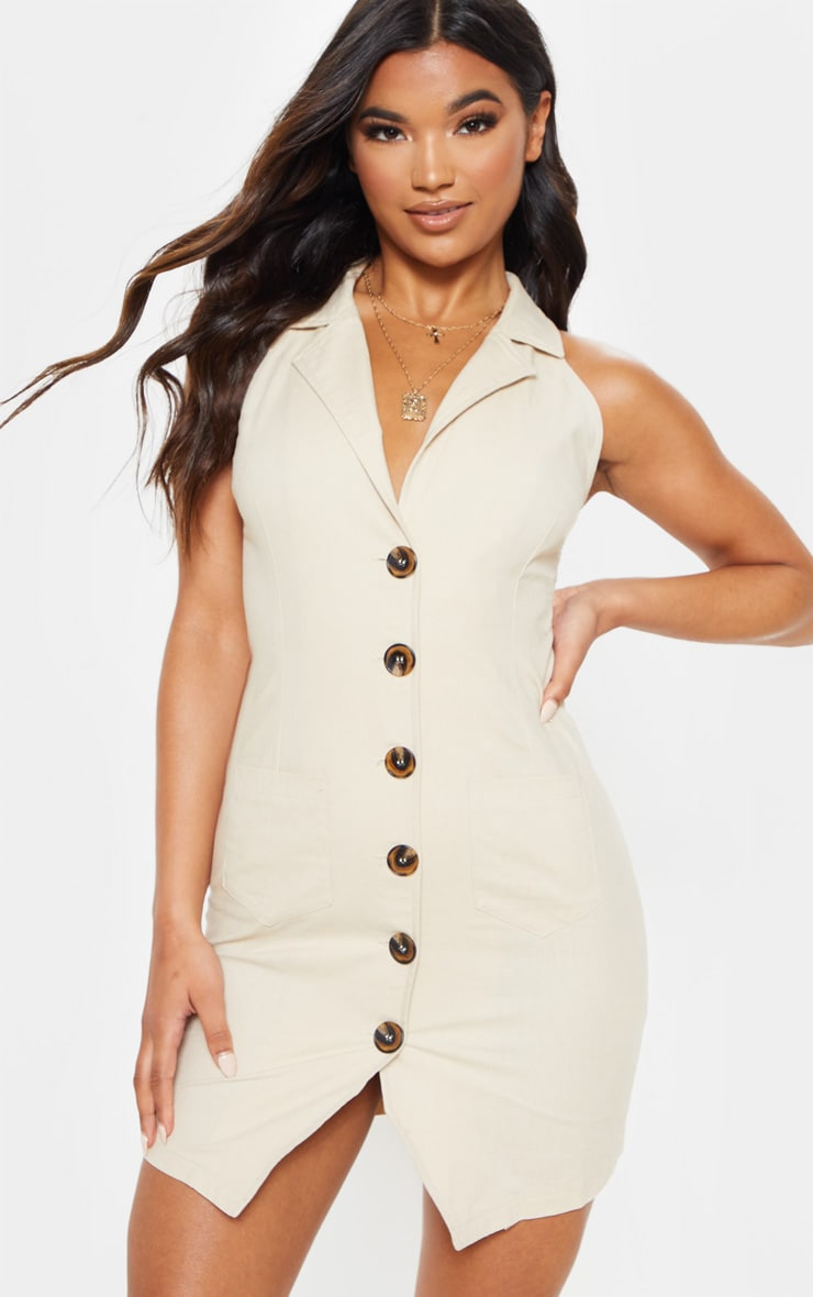 45ed8109e104f Beige Sleeveless Button Front Blazer Bodycon Dress image 1
