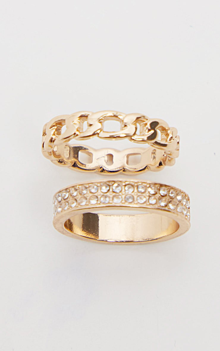 Gold Diamante And Chain Two Pack Rings 3