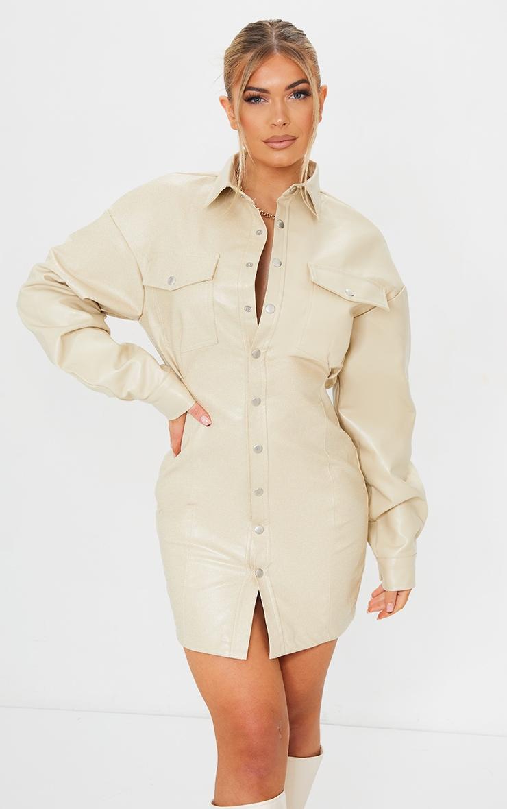Stone Faux Leather Split Side Pocket Detail Shirt Dress 1