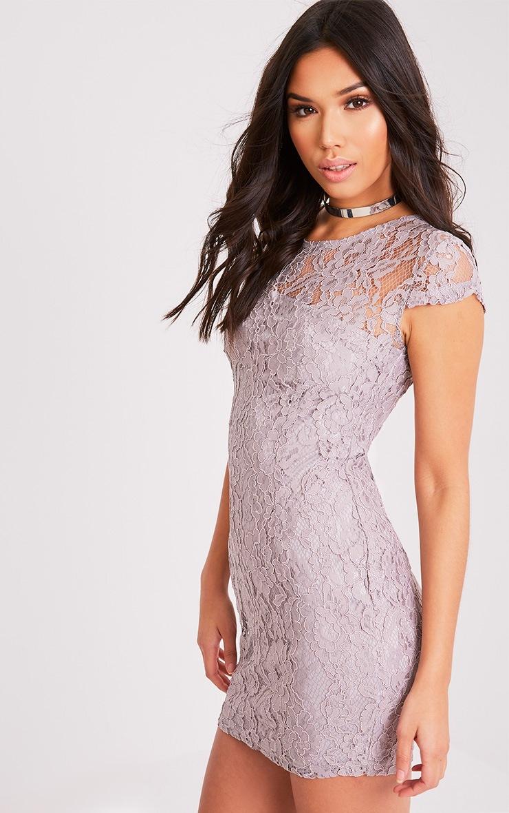 Natasha Ice Grey Lace Cap Sleeve Bodycon Dress 4