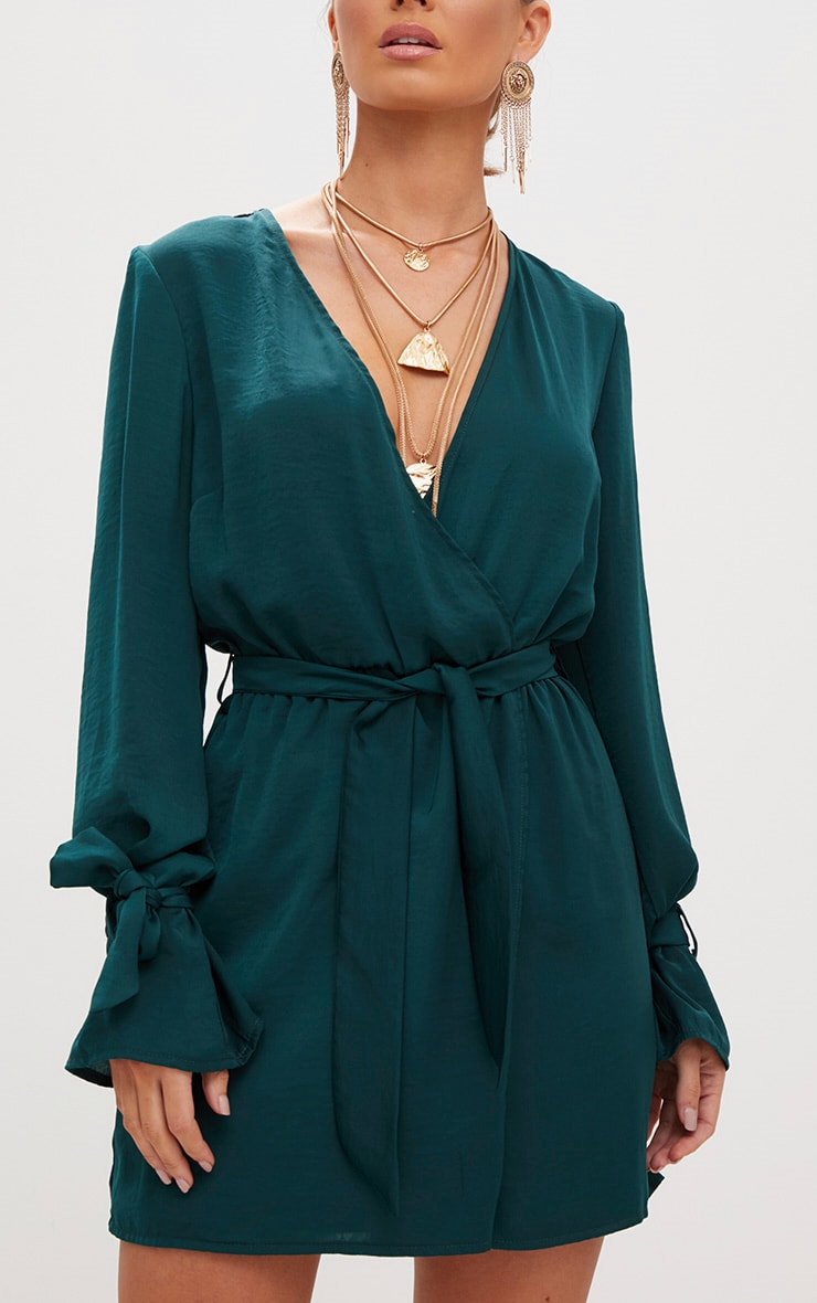 Emerald Green Satin Wrap Cuff Detail Shift Dress 5