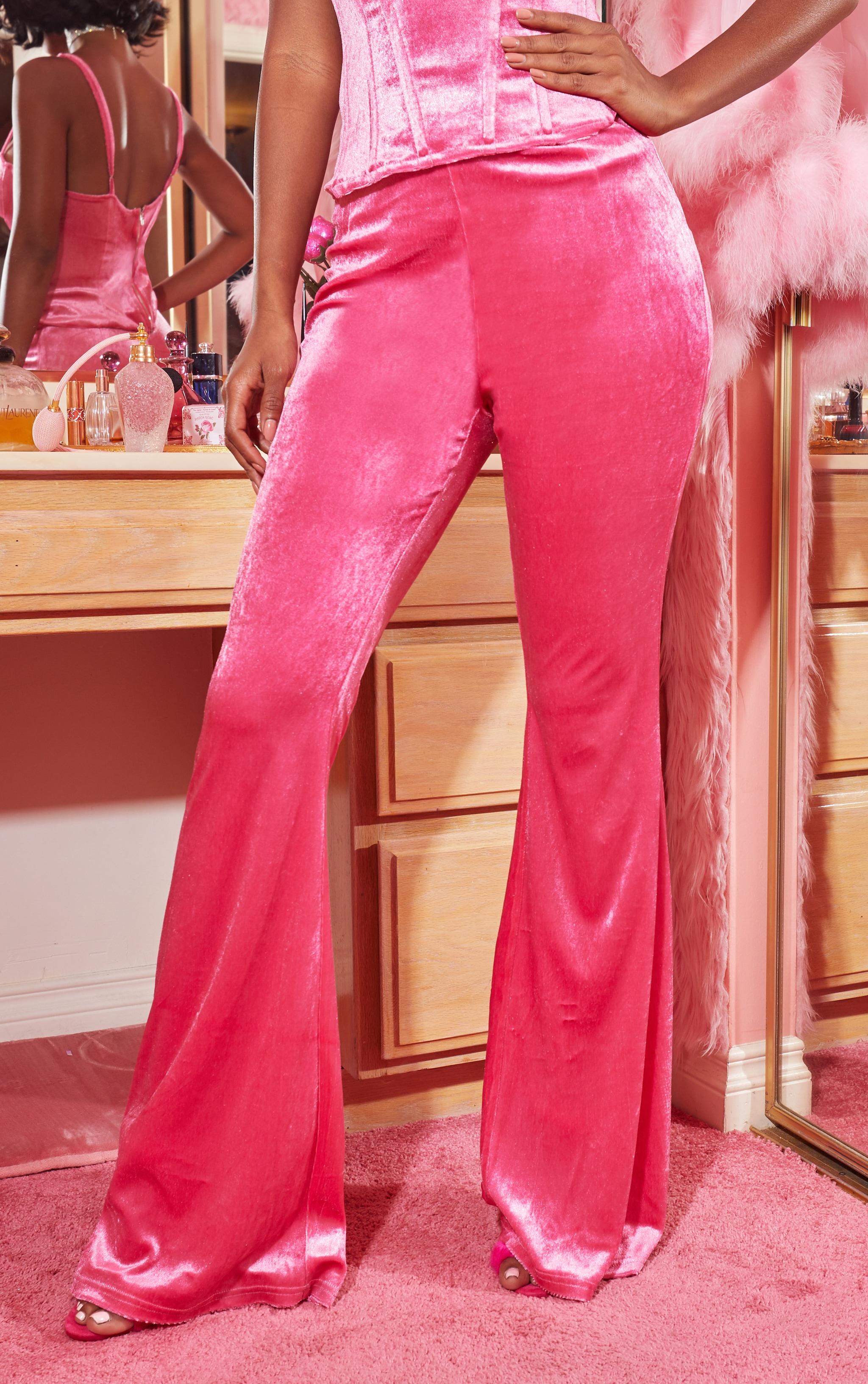 Hot Pink Velvet Tailored Extreme Flared Trouser 3