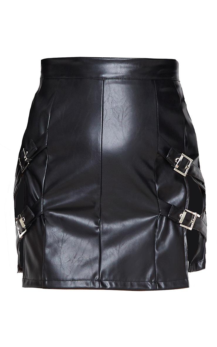 Black Faux Leather Double Buckle Detail Mini Skirt 3