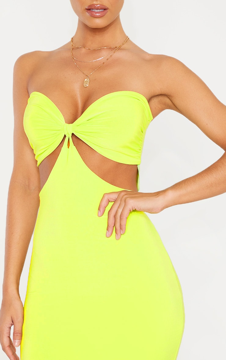 Lime Slinky Bust Detail Cut Out Midi Dress 5