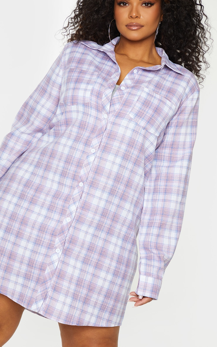 Plus Lilac Checked Oversized Shirt Dress 4