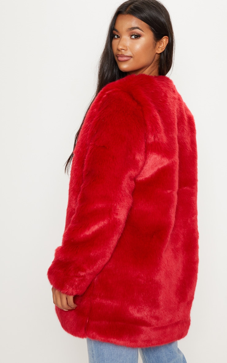 Red Midi Faux Fur Coat  2