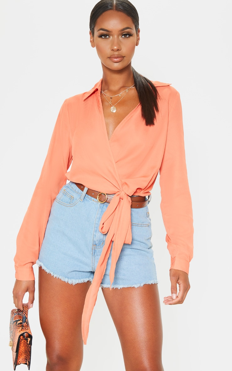 Orange Wrap Front Tie Side Blouse 1