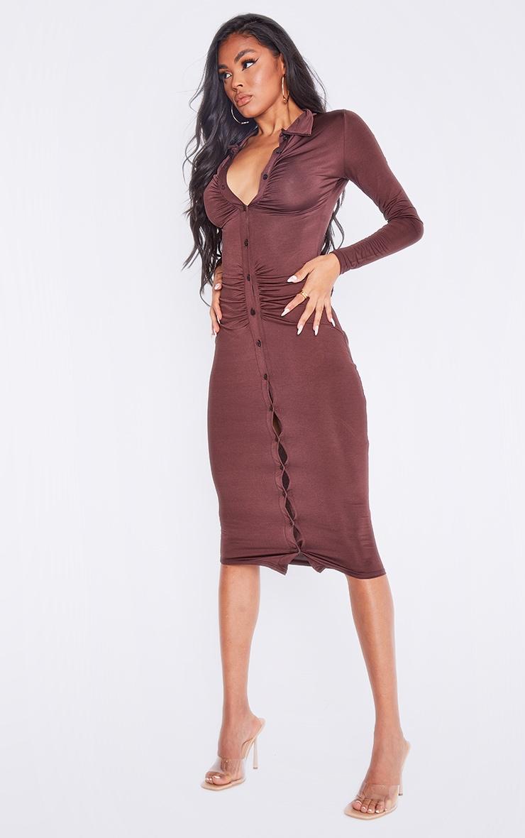 Chocolate Slinky Ruched Button Down Midi Shirt Dress 4