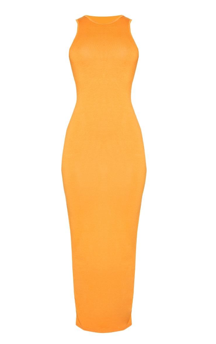 Orange Racer Neck Jersey Midaxi Dress 5