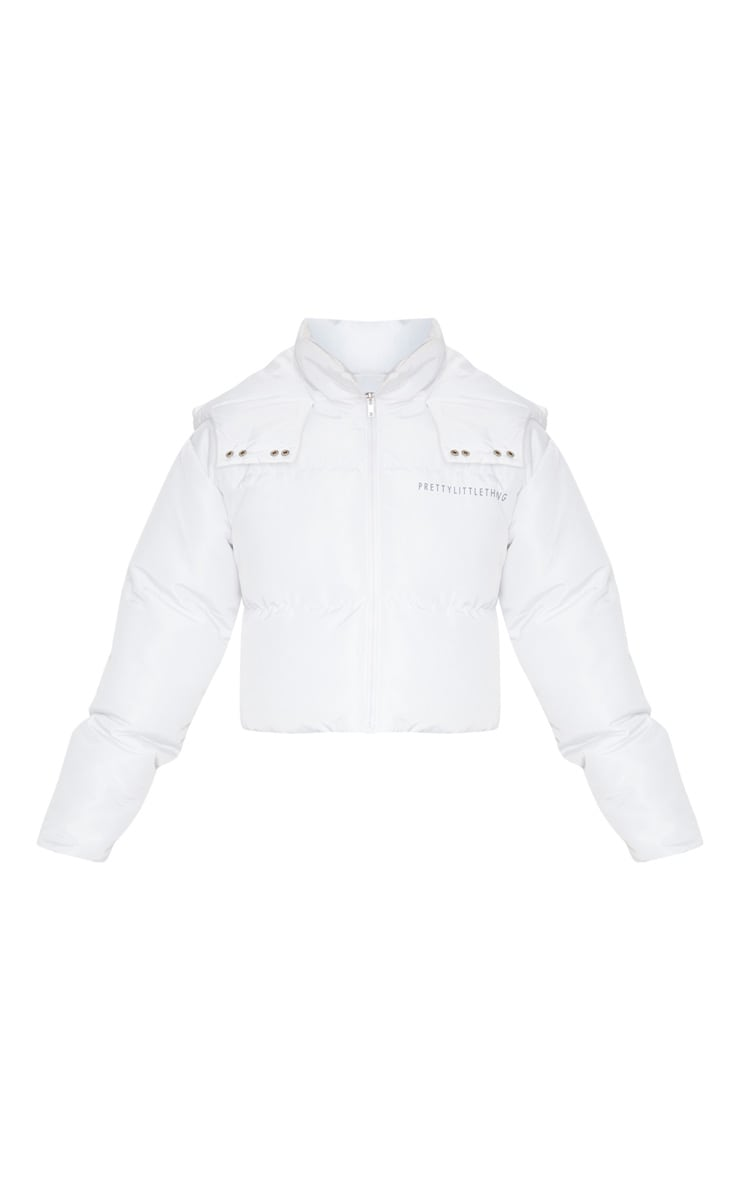 PRETTYLITTLETHING White Hooded Crop Puffer Jacket 4