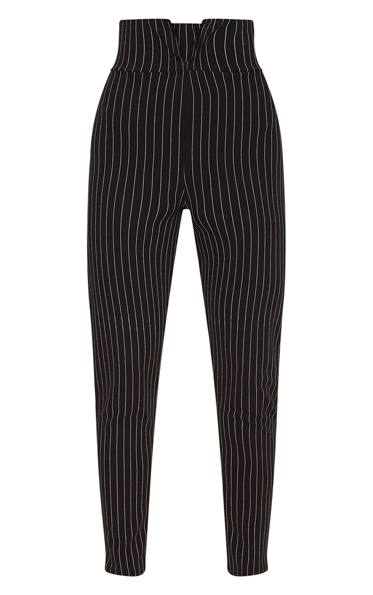 Black Pinstripe Cut Out Waist Skinny Pants  3