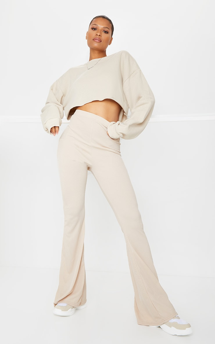 Stone Ribbed Flared Pants 1