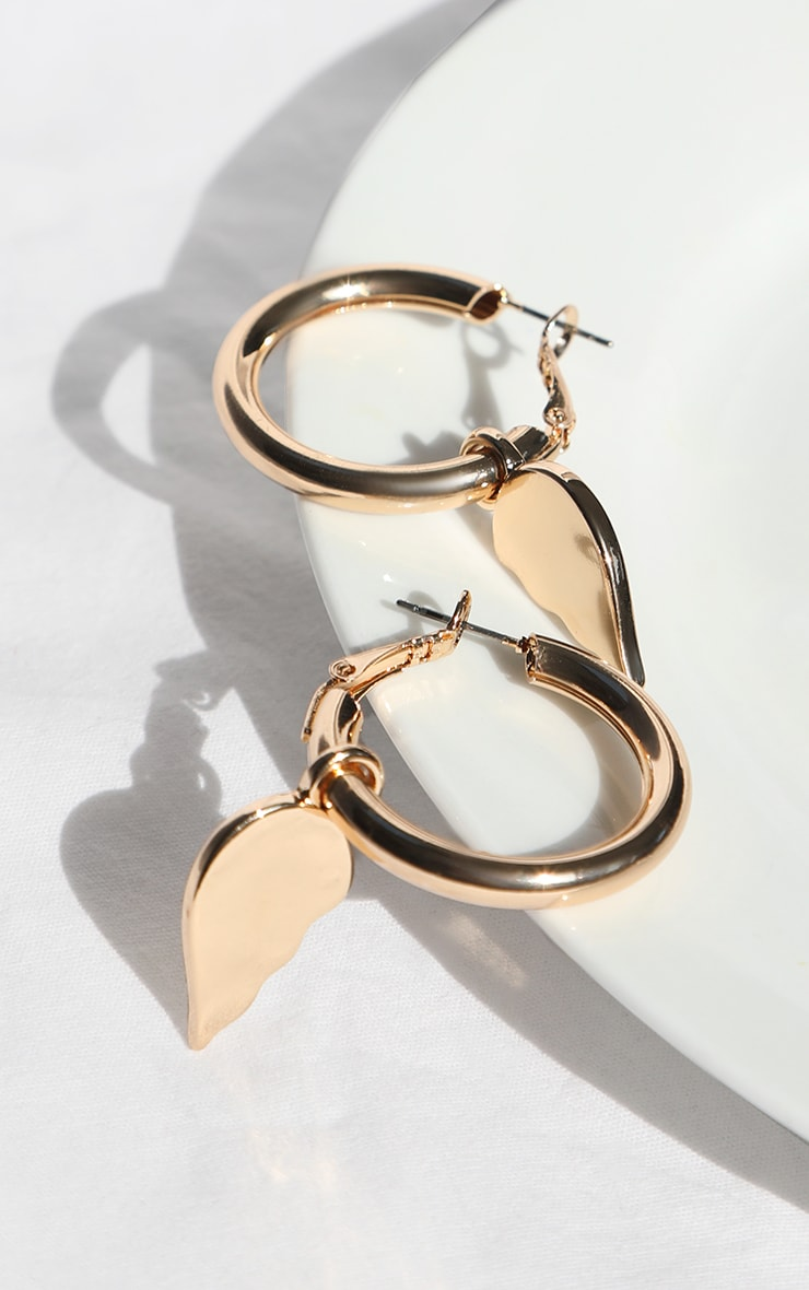 Gold Broken Heart Hoop Earrings 3