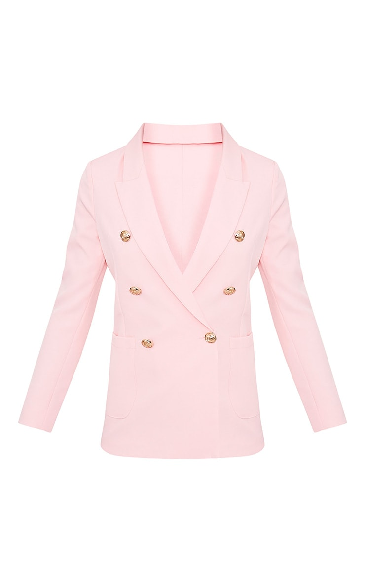 Pari Pink Double Breasted Military Style Blazer 2