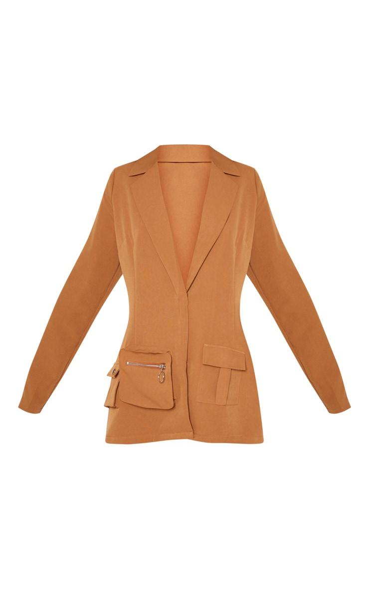 Tan Pocket Detail Woven Blazer 3