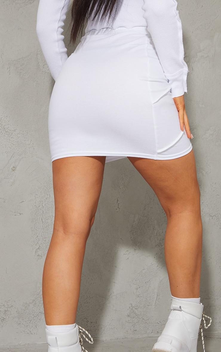White Exposed Seam Cotton Mini Skirt 3