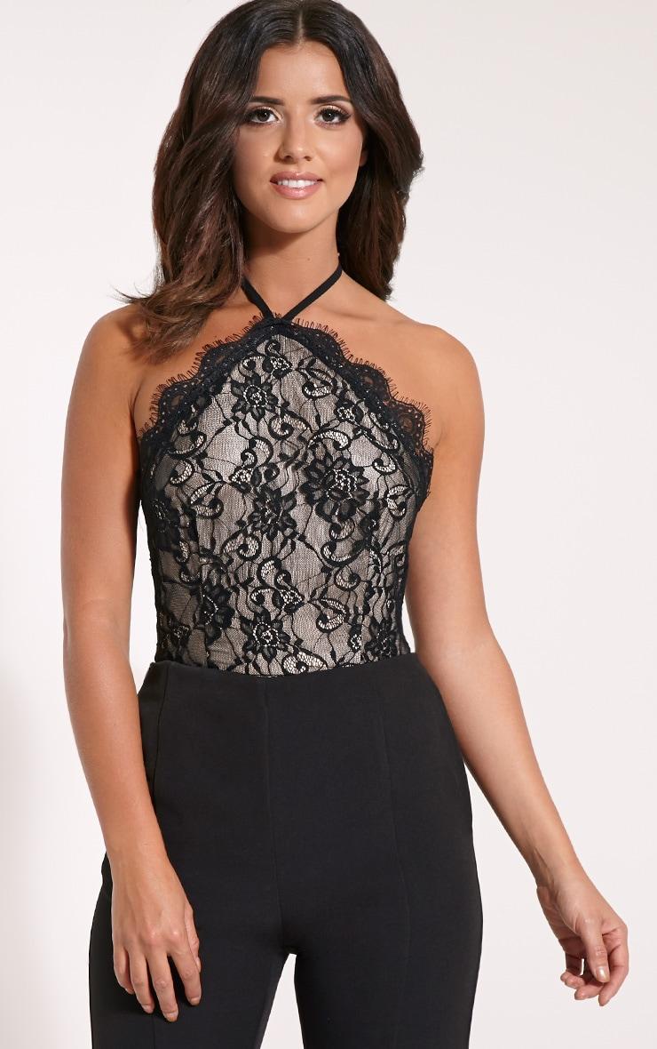 Ellen Black Lace Halterneck Bodysuit 1