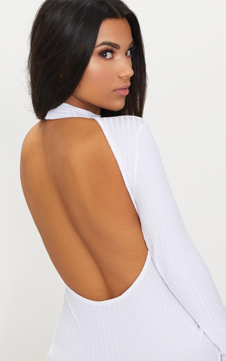 White Rib High Neck Long Sleeve Open Back Midaxi Dress 5