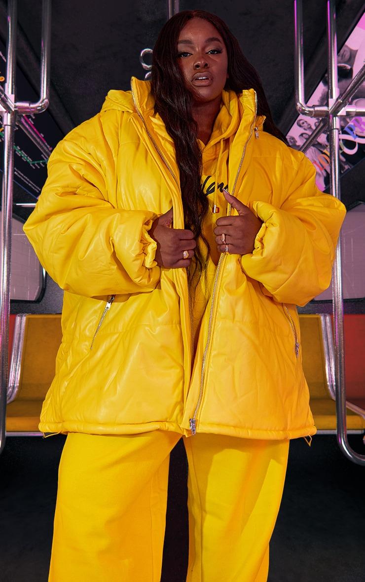 Plus Yellow Unisex PU Extreme Oversized Puffer Coat 2