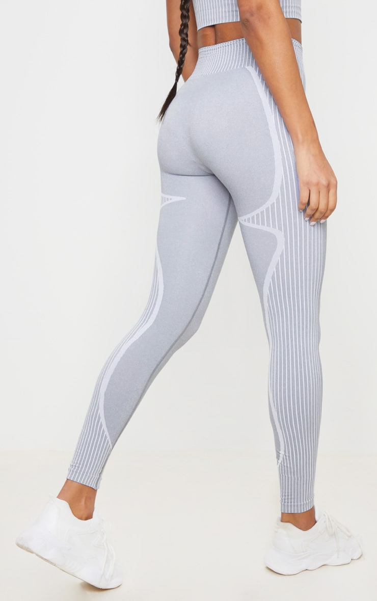 PRETTYLITTLETHING Sport Light Grey Seamless Contour Leggings 3