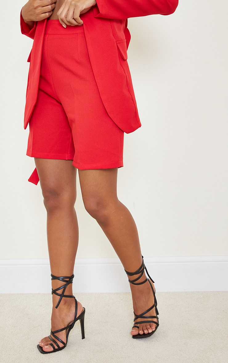 Red Woven Skinny Longline Shorts 2