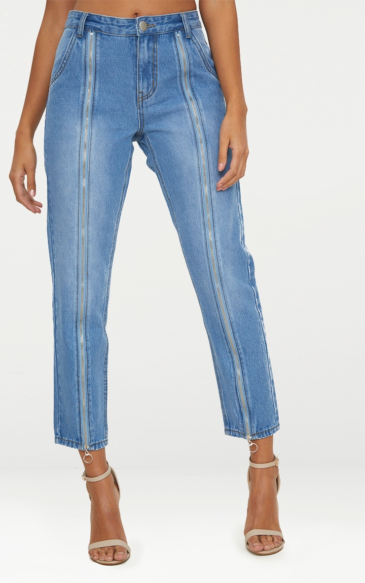 Mid Wash Zip Up Leg Mom Jean 2