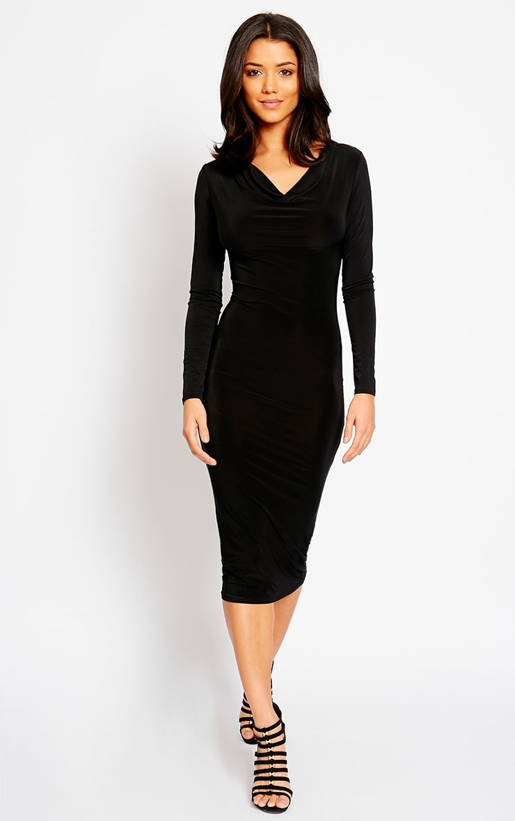 Ziva Black Slinky Cowl Neck Midi Dress 1