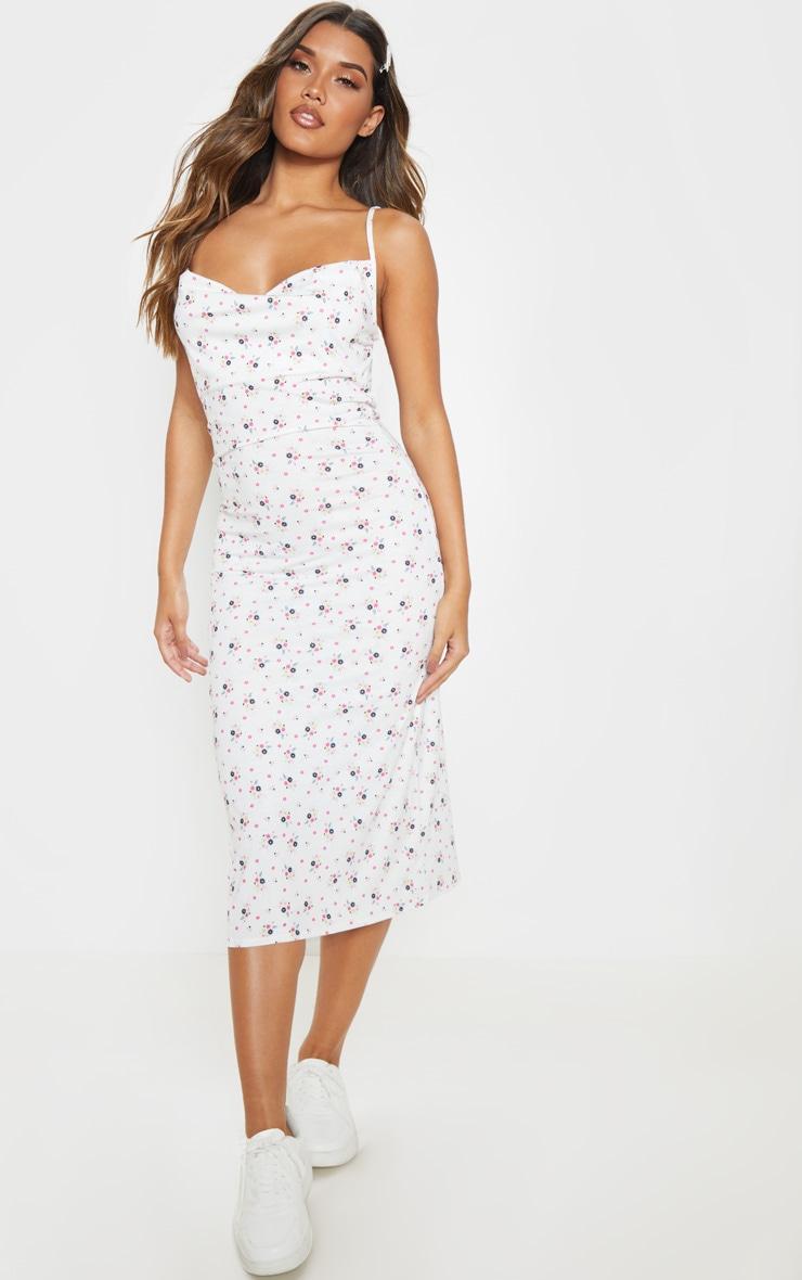 White Ditsy Floral Cowl Midi Dress 1