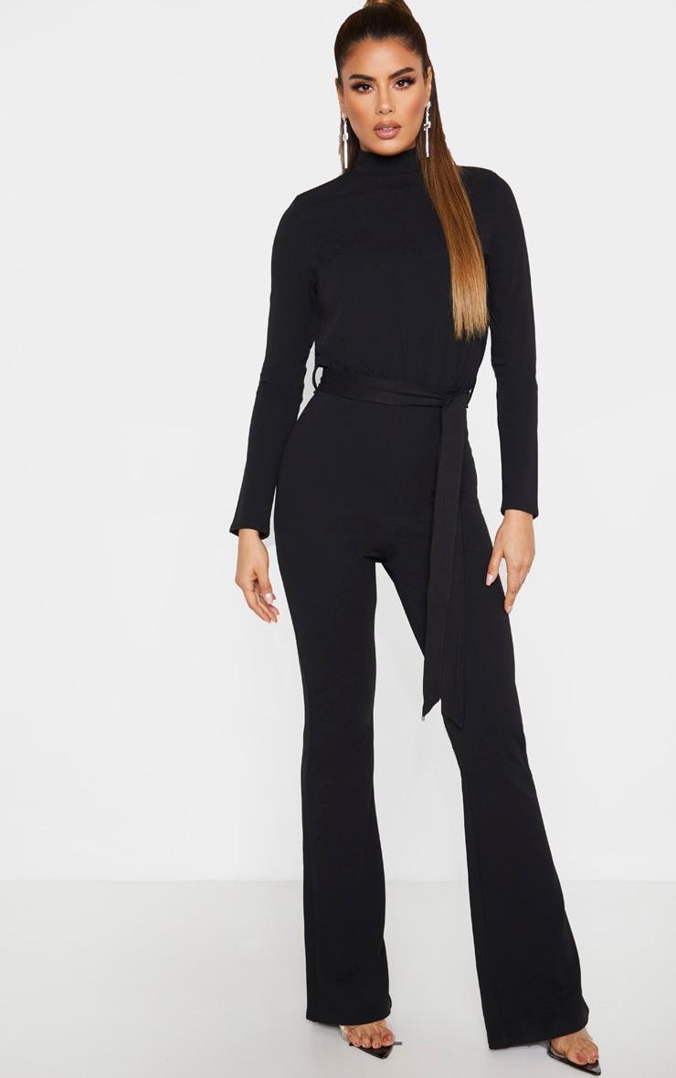 Tall Black High Neck Long Sleeve Scuba Flared Jumpsuit 1