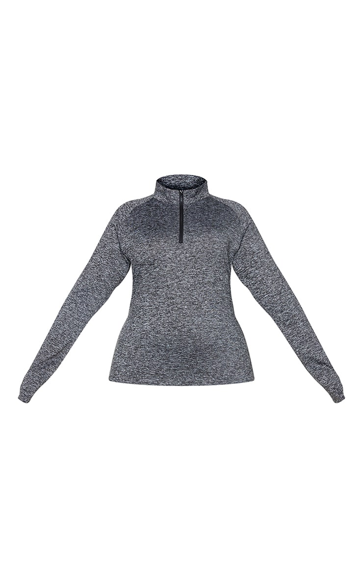 Plus Black Speckle Long Sleeve Zip Up Sports Top 5