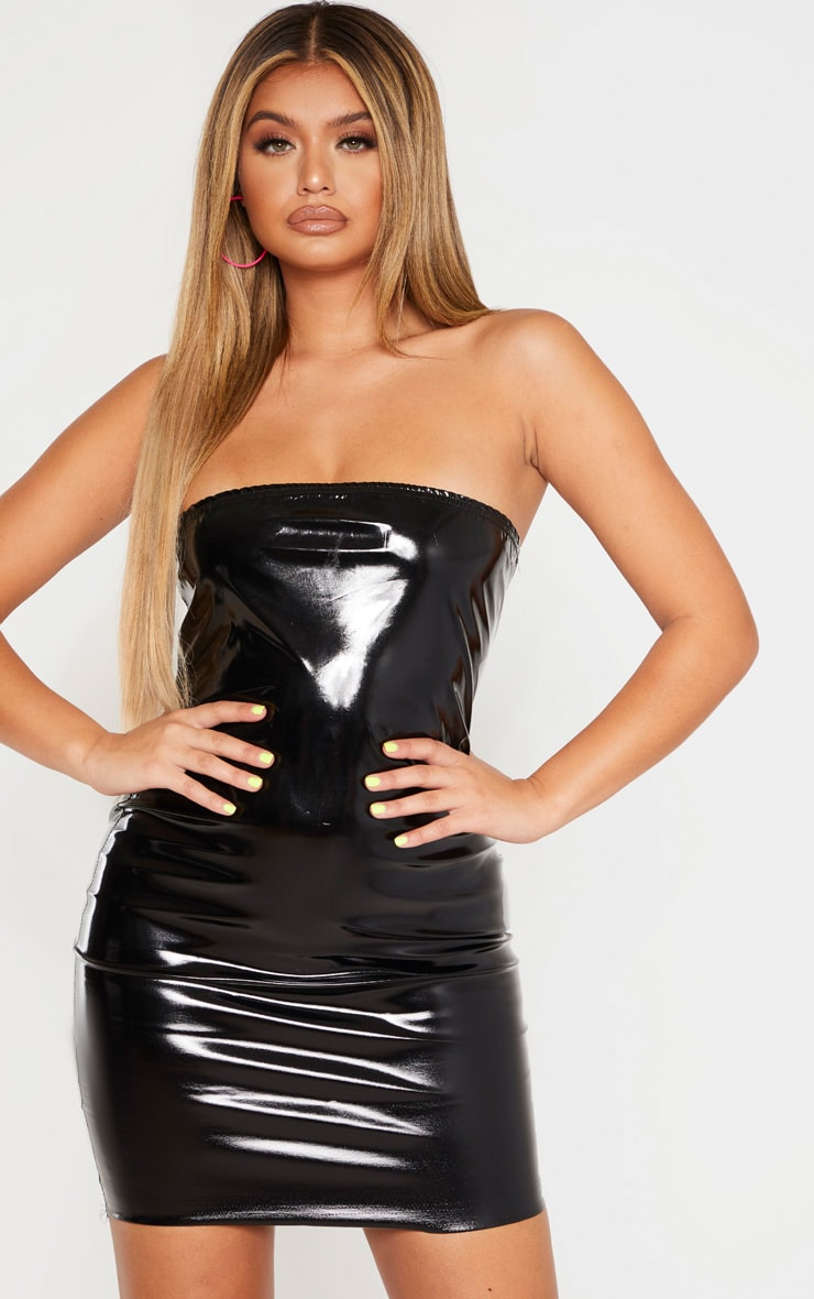 Black PU Bandeau Bodycon Dress 4