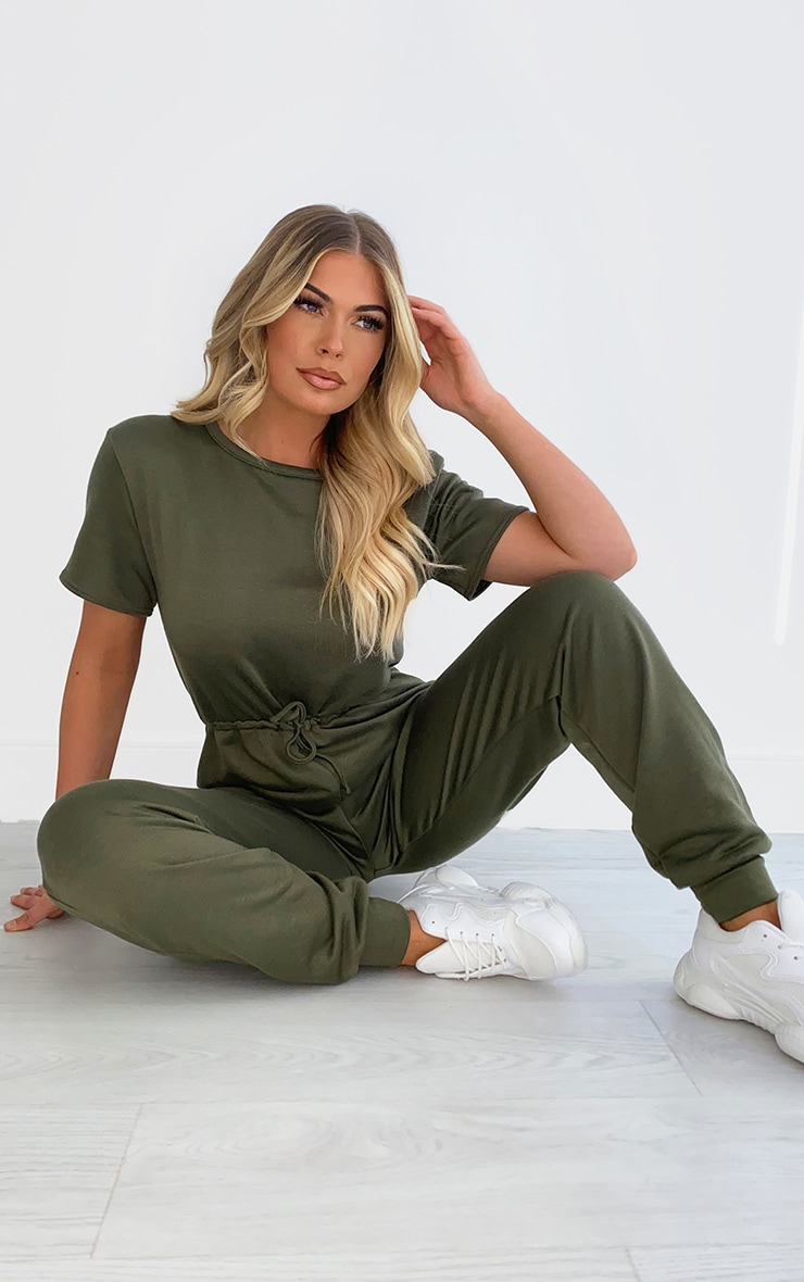 Khaki Sweat Short Sleeve Jogger Jumpsuit 1