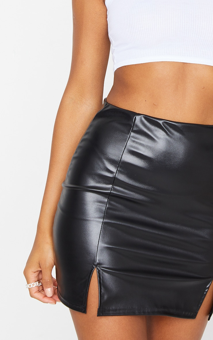 Black Faux Leather Split Hem Mini Skirt 5