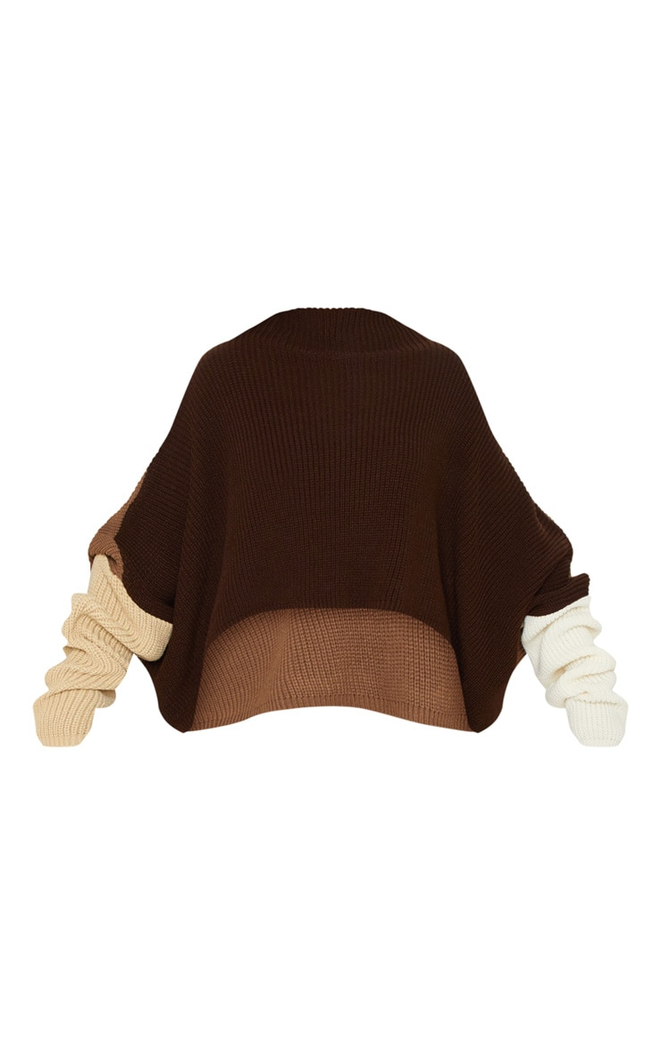 Brown Oversized Colour Block Knitted Jumper  2