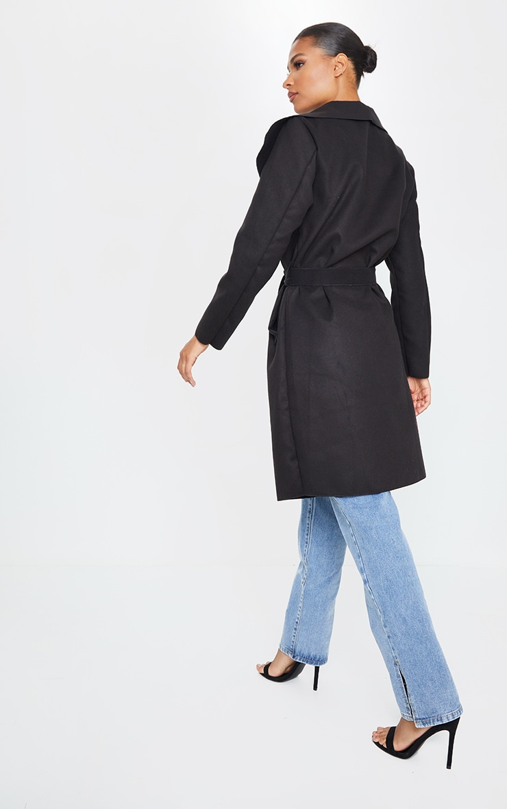 Veronica Black Oversized Waterfall Belt Coat 2