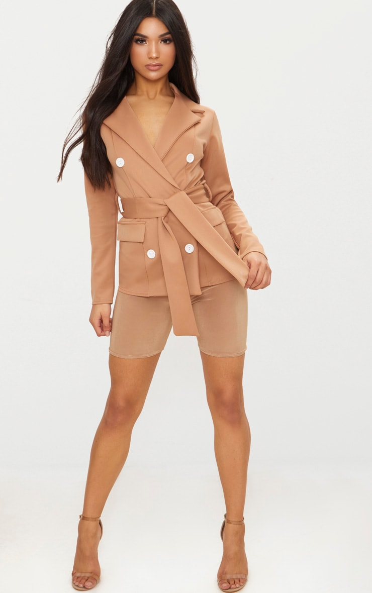 Camel Double Breasted Belted Blazer 4