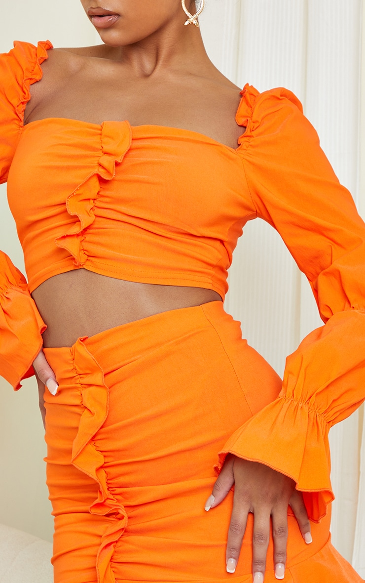 Orange Woven Stretch Frill Ruched Front Long Sleeve Crop Top 4