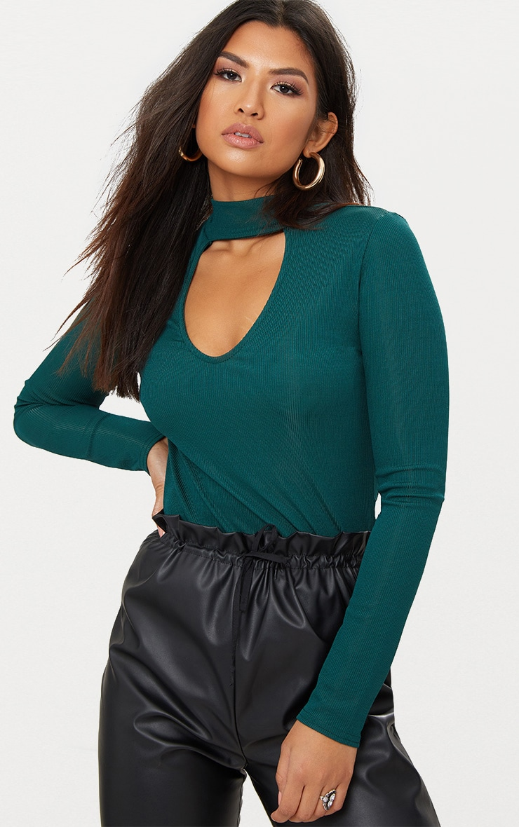 Forest Green Ribbed Choker Longsleeve Top 1