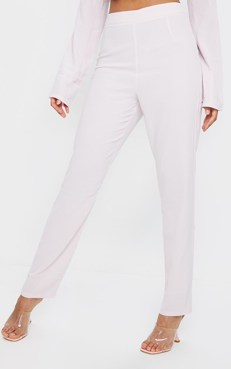 Light Pink Woven Lightweight High Waist Cigarette Trousers 2
