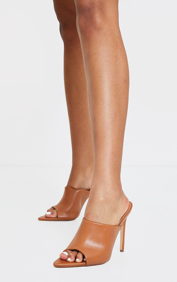 Camel Pu Pointed High Heeled Mules 4