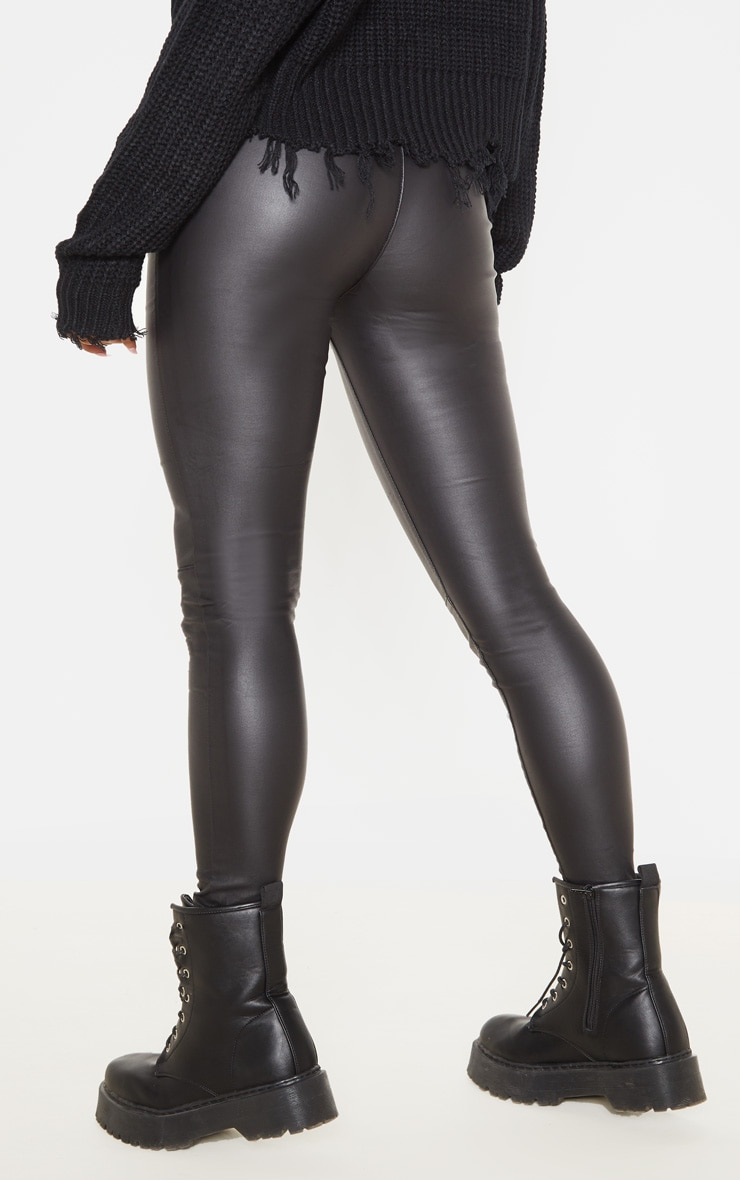 Black Zip Side Coated Jeans  4