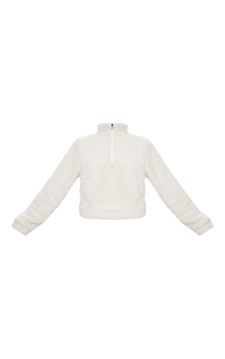 Cream Borg Zip Pocket Front Sweater 5