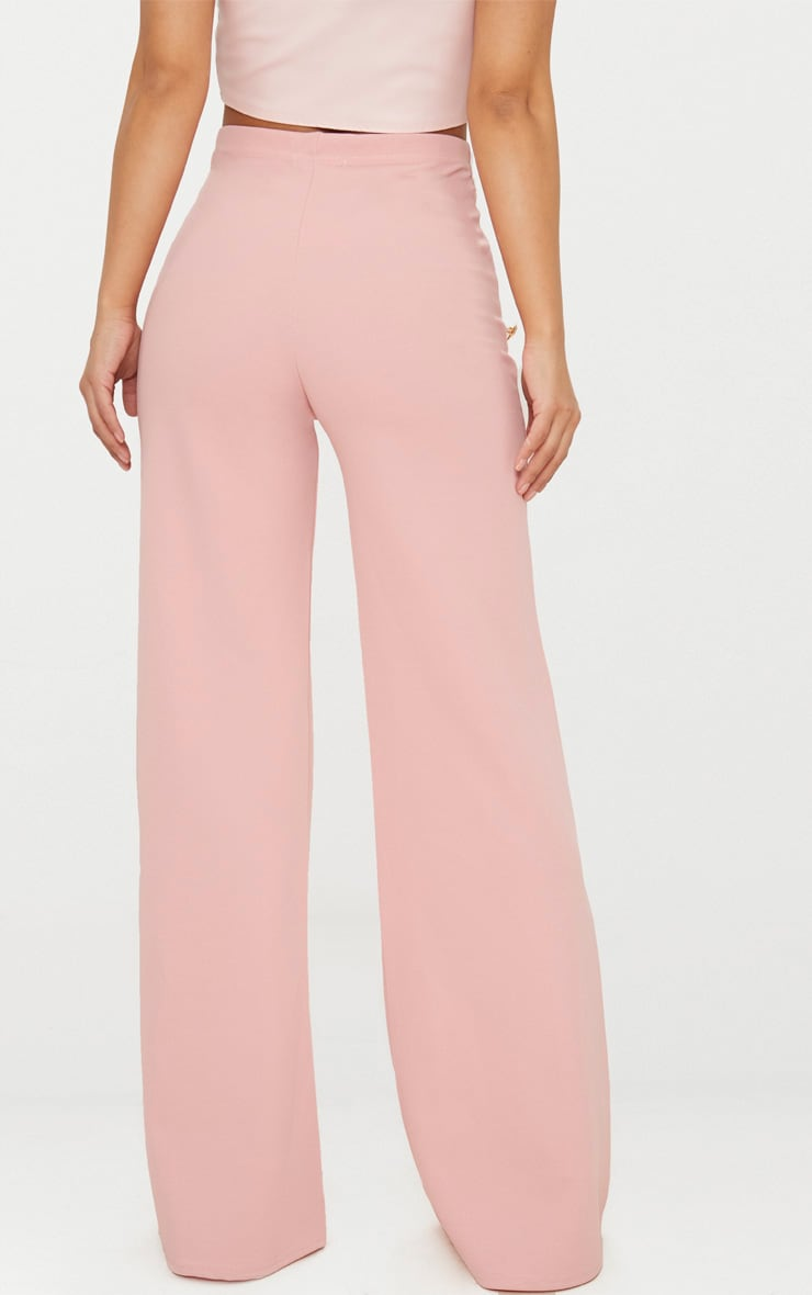 Petite Dusty Pink Military Button Wide Leg Trousers 3