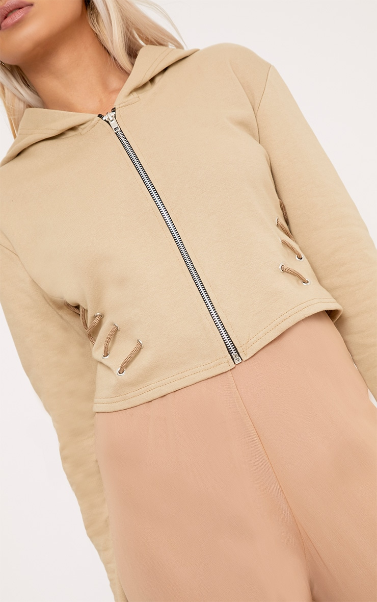 Imogen Taupe Lace Up Detail Cropped Hoodie 5