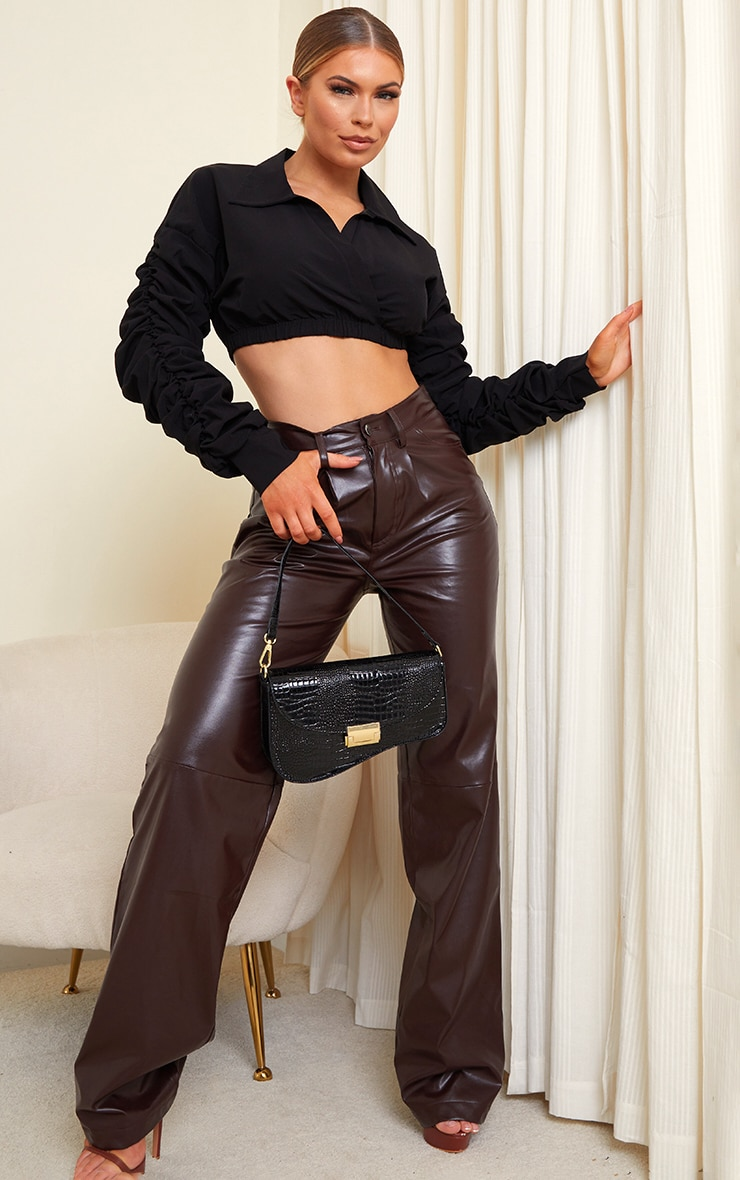 Black Extreme Ruched Long Sleeve Cropped Shirt 3