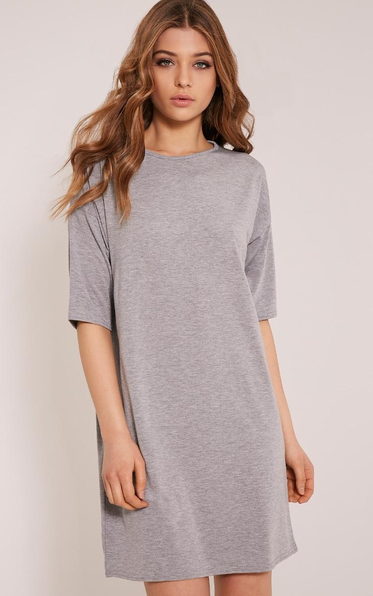 Basic robe t-shirt gris chiné à épaules tombantes 1