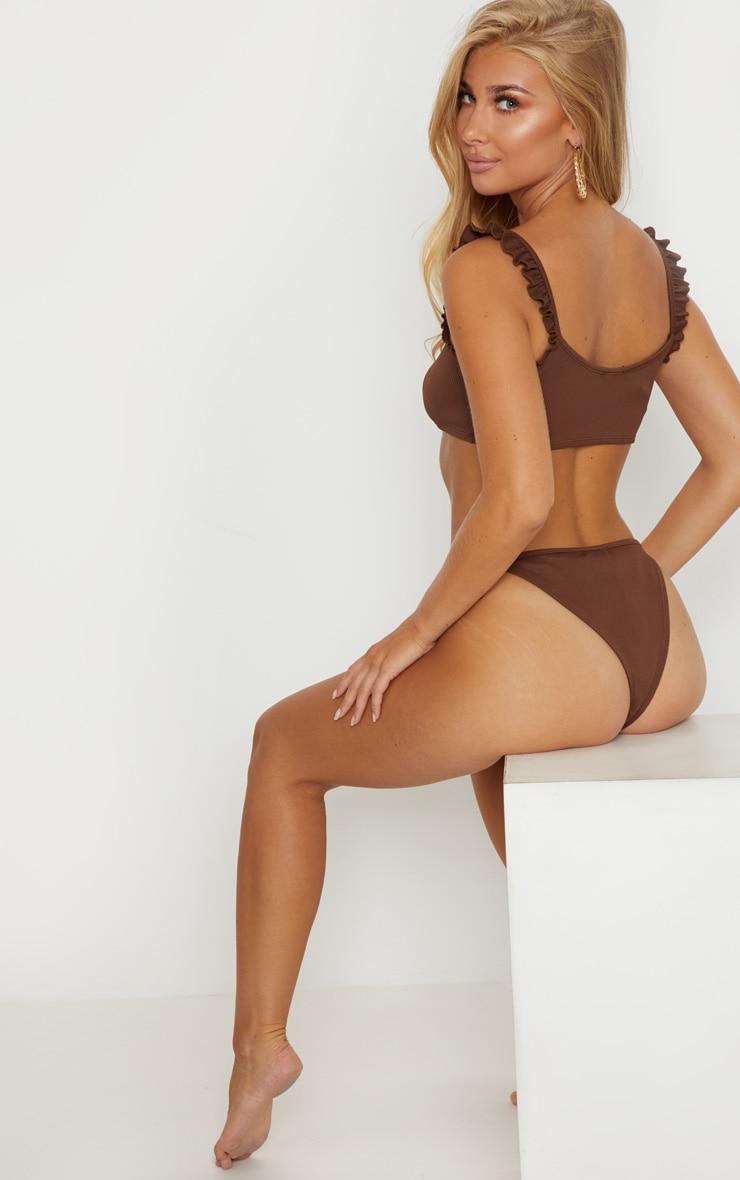 Chocolate Ribbed Frill Bikini Top 2