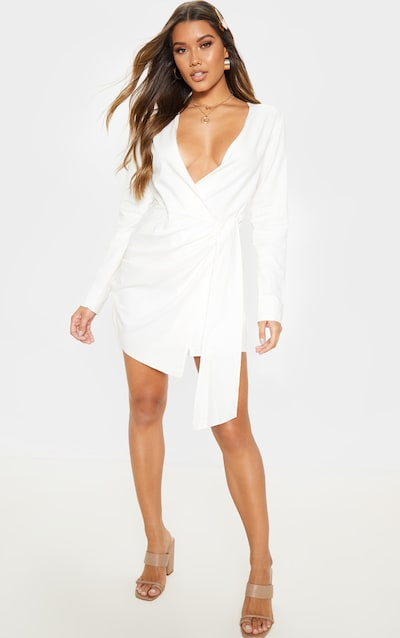 Cream Woven Tie Wrap Long Sleeve Dress