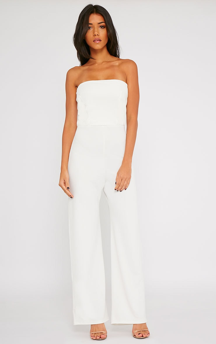 Cilla Cream Bandeau Leather Panel Wide Leg Jumpsuit 4